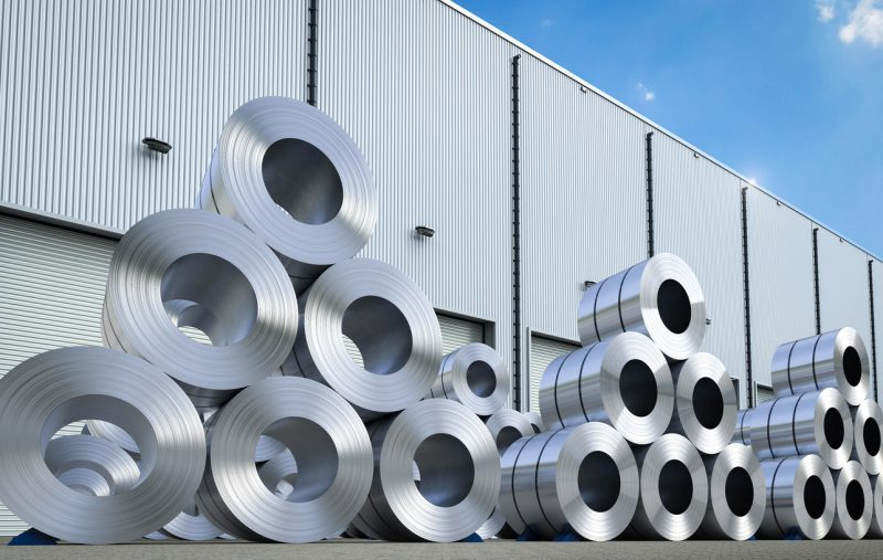 rolls of steel sheet in warehouse
