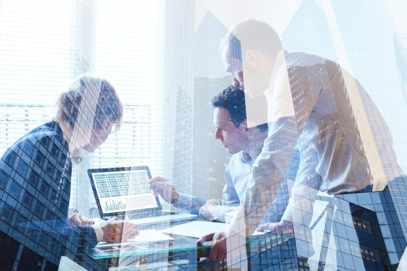 teamwork concept, business team working together, double exposure of meeting