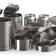 Metal tin cans on white background 3D rendering